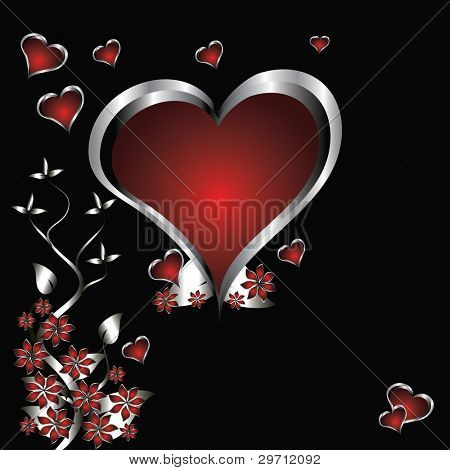 A vector valentines background with silver hearts on a deep red and black backdrop  with   room for text
