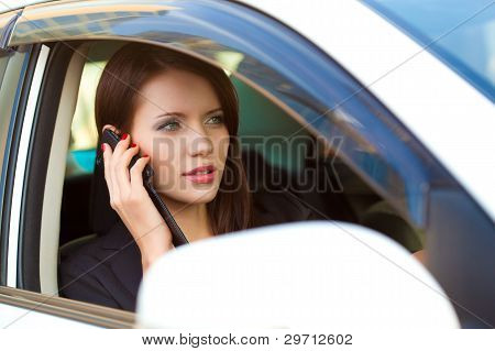 woman in car calling