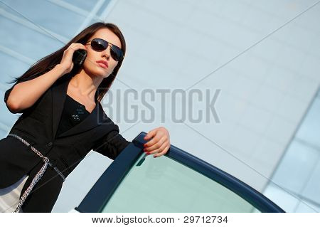 woman calling by mobile phone