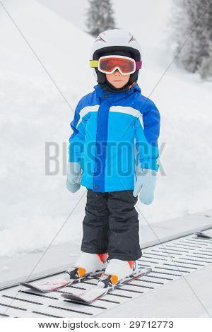 Junior skier in the ski school.