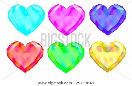 Colorful Gem Hearts
