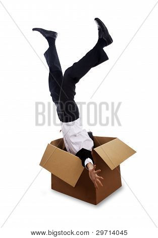 Man Falling Down Into Box