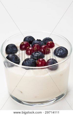 Yogurt In Plastic Box Container Over White Background