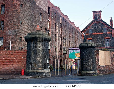 Old Derelict Victorian Tobacco Warehouse In Liverpool Uk, Grade 2 Listed, The Largest Brick Built Wa