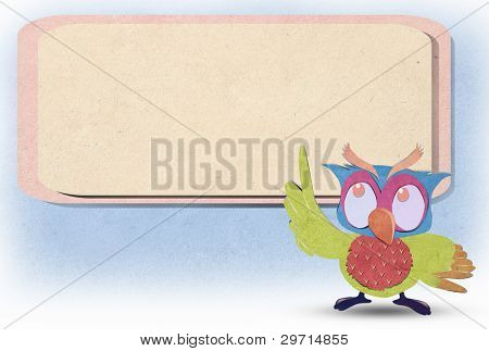 owl bird  paper craft stick background