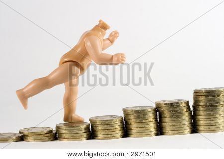 Doll Walking On Money
