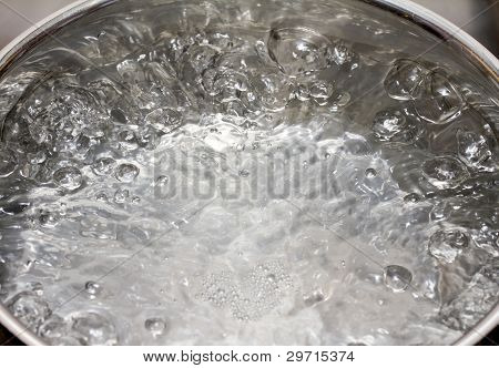 Saucepan full of boiling water