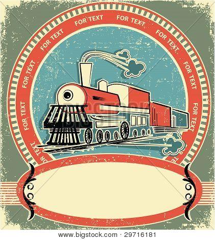 Locomotora estilo Label.vintage en textura antigua