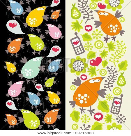 Seamless patterns with birds and mobile phones.