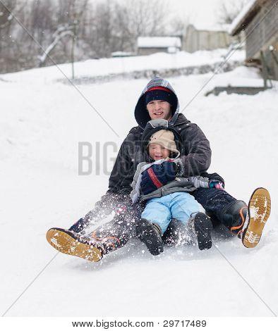 Happy snow slide