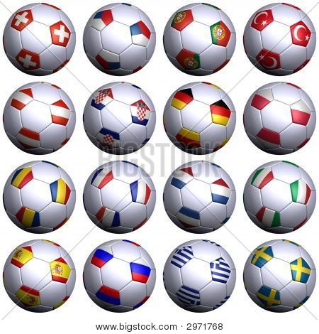 16 Soccer-Balls With Flags Of All Uefa 2008 Teams