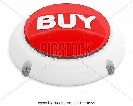 Comprar el botón. Modelo 3D rojo aislado sobre fondo blanco