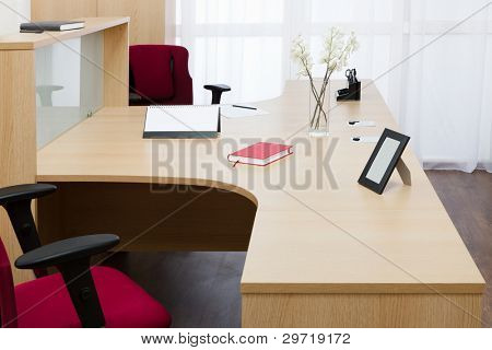 beautiful wooden desk in modern office