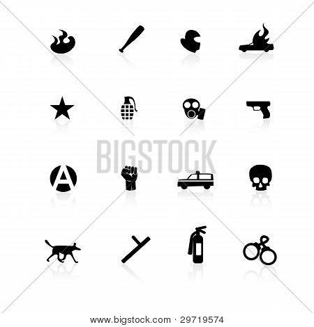 Black riot icons on white