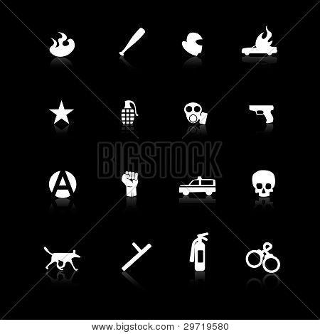 White riot icons on black