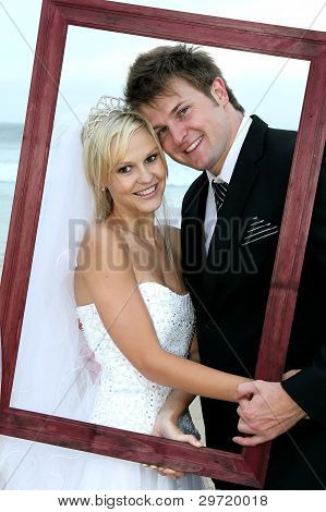 Beautiful Wedding Couple With Frame