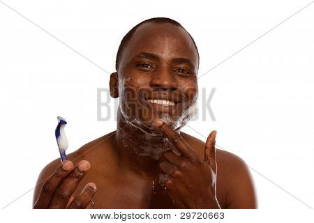 African american shaving, isolated on white background