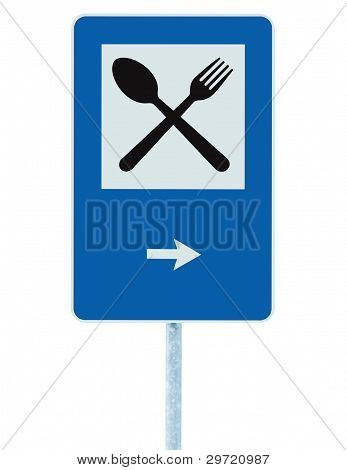 Restaurant Sign On Post Pole, Traffic Road Roadsign, Blue Isolated Dinner Bar Catering Fork Spoon
