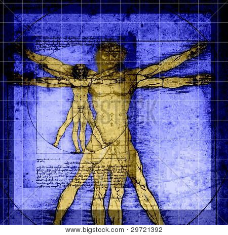 Vitruvian Man - abstract DaVinci work with grid lines, shading. This is an abstract image with purposeful lines and color.