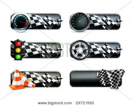 Racing banners set, vector