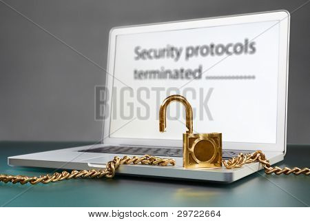 laptop and unlocked chain for non secure concept