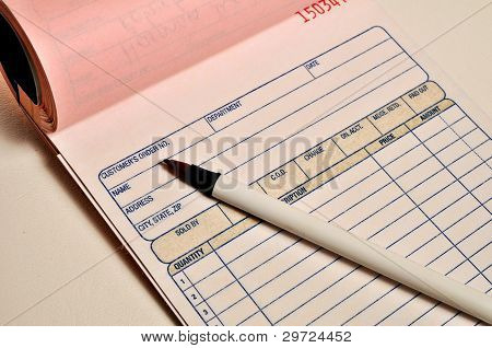 Receipt Book And Pen