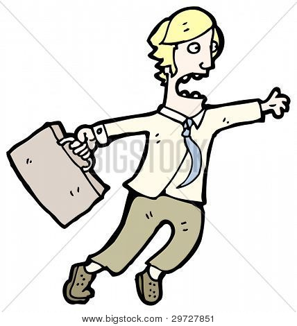 (raster version) cartoon blond businessman late for work