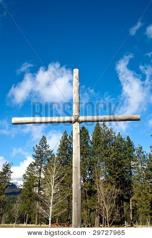Wooden Cross Set Outdoors.