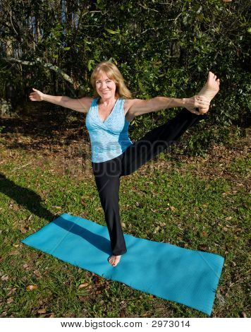 Mature Woman Yoga - On One Leg