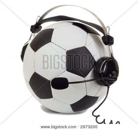 Soccer Concept, Ball In Headphones As Commentator
