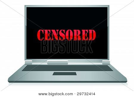word Censored displayed on the screen  illustration design