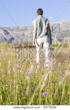Woman In A Mountain Meadow