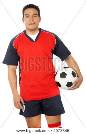 Male Footballer With A Football