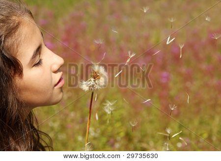 Girl blows dandelion