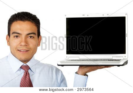 Business Man Displaying A Laptop