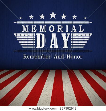 poster of Memorial Day Background With Us National Flag, Stars And Stripes. Template For Memorial Day Invitati