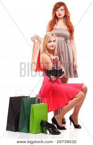 Lovely Woman Ginger And Blonde With Shopping Bags