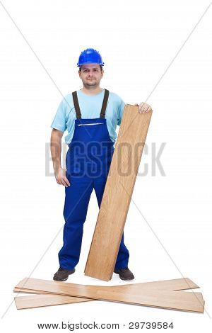 Worker With Laminate Flooring