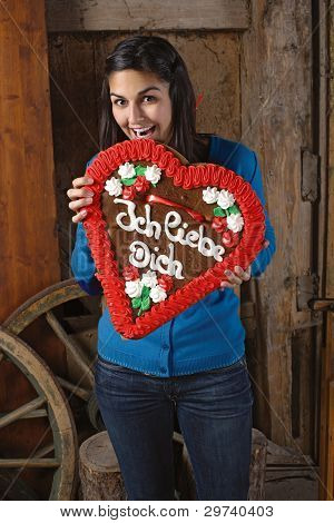 Eating A Huge Heart Cookie