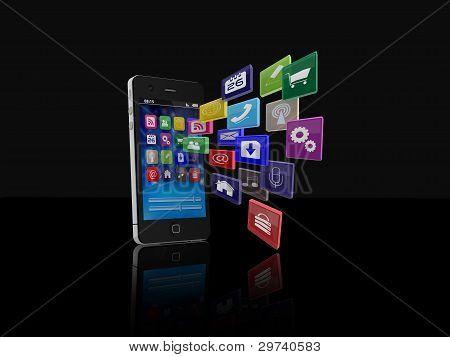 Smartphone mit Anwendungssymbolen