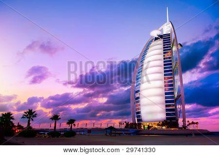 DUBAI, UAE - NOVEMBER 27: Burj Al Arab hotel on Nov 27, 2011 in Dubai. Burj Al Arab is a luxury 5 stars hotel built on an artificial island in front of Jumeirah beach.