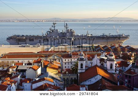 LISBON - JAN. 21: After a 10 months in the Persian Golf, USS Bataan (LHD 5) is docked in a Lisbon port, prior returning to the US, on January 2, 2012 in Lisbon - Portugal.