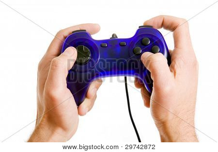 poster of video game controller in hand isolated on white background