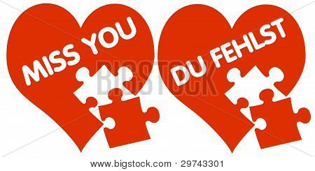 Red hearts with puzzle pieces