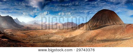 Fantastic mountain scenery landscape, Fuerteventura, Spain
