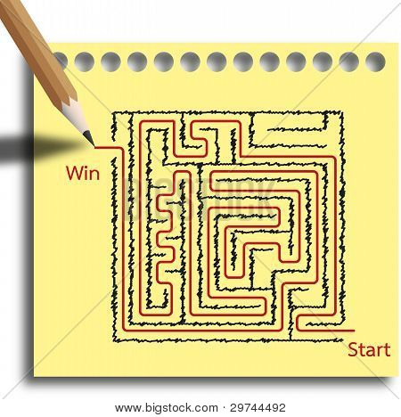 Maze puzzle game step by step you with red line are winner.
