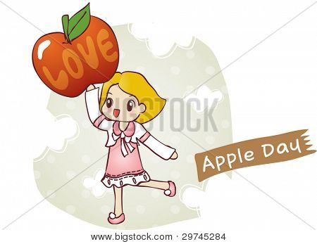 Cute Smiling Young Girl and Sweet Red Apple on white background - running lovely happy child with a ripe juicy fruit