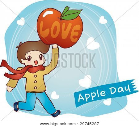 Cute Smiling Young Boy and Sweet Red Apple on blue background - running lovely happy child with a ripe juicy fruit