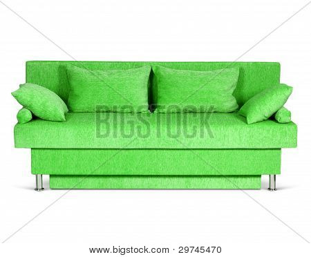 Green Sofa On White