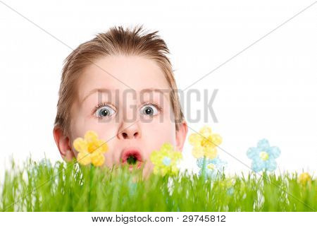 Surprised happy boy behind fresh green grass and colorful handmade flowers